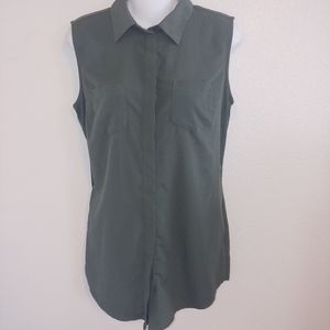 Merona olive green sleeveless button down career